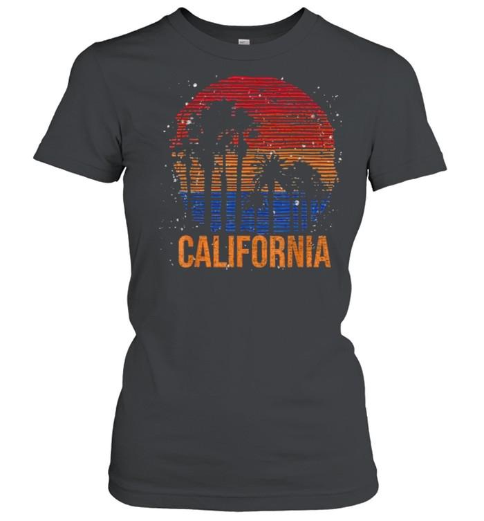 California Palm Trees Ocean Summer Vacation Sea Vintage T- Classic Women's T-shirt