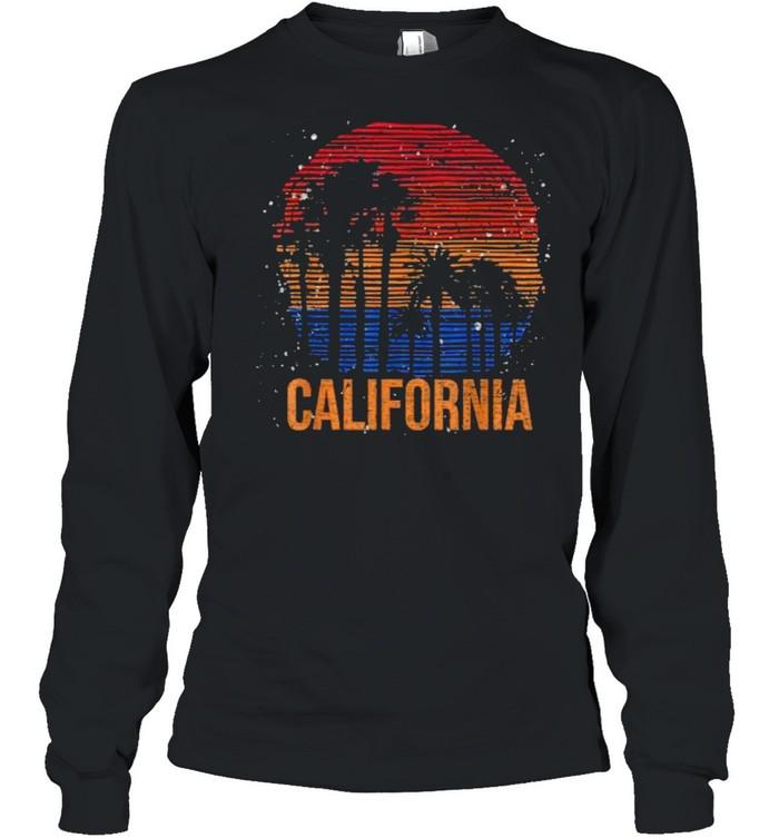 California Palm Trees Ocean Summer Vacation Sea Vintage T- Long Sleeved T-shirt