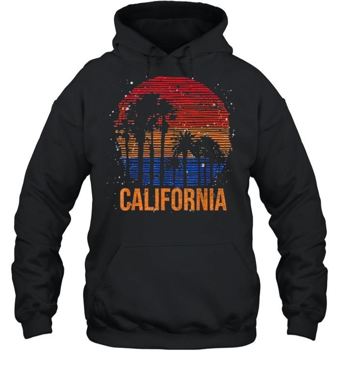 California Palm Trees Ocean Summer Vacation Sea Vintage T- Unisex Hoodie
