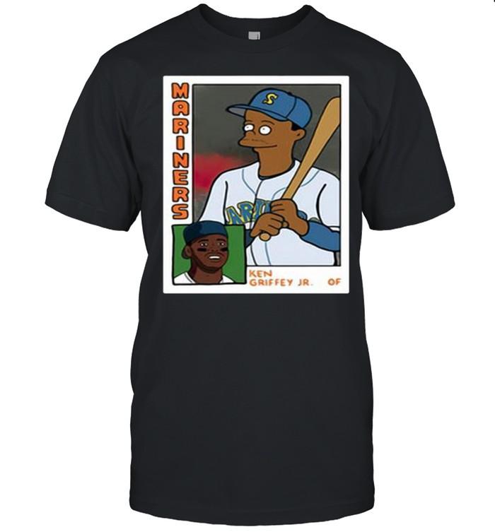 Homer at the Bat Ken Griffey Jr Simpsons Parody Baseball Card  Classic Men's T-shirt