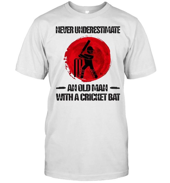 Never Underestimate An Old Man With A Cricket Bat Sunset T-shirt Classic Men's T-shirt