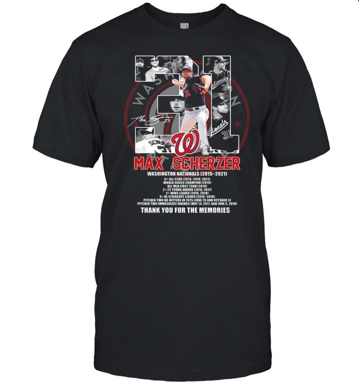31 max scherzer washington nationals 2015 2021 signature thank you for the memories shirt Classic Men's T-shirt
