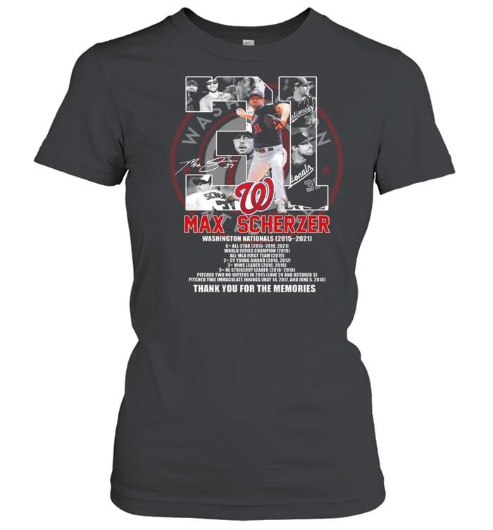31 max scherzer washington nationals 2015 2021 signature thank you for the memories shirt Classic Women's T-shirt