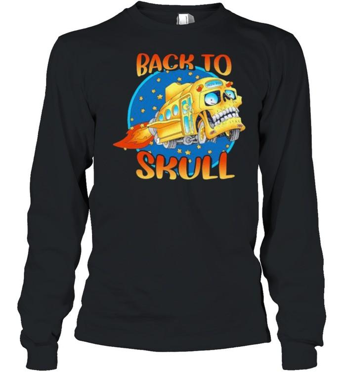 Back To School Skull Bus  Long Sleeved T-shirt