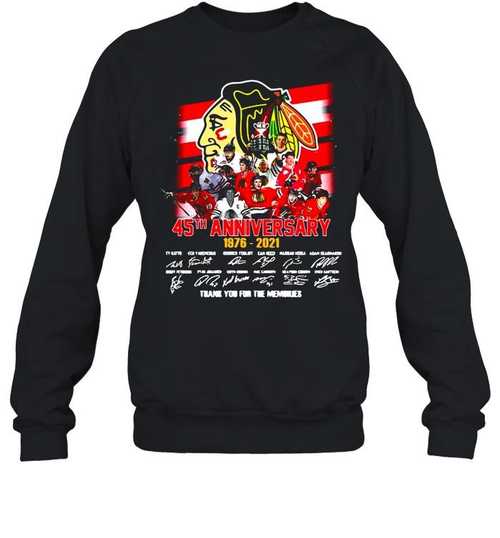 Chicago Blackhawks 45Th Anniversary 1976-2021 Signature Thank You For The Memories T-shirt Unisex Sweatshirt
