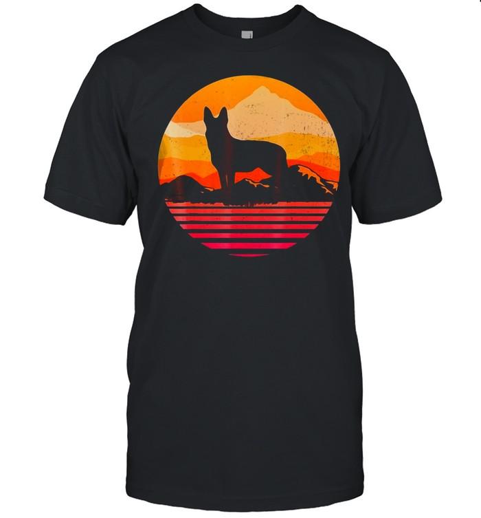 Dog German Shepherd Silhouette With Sun Mountain Vintage T-shirt Classic Men's T-shirt