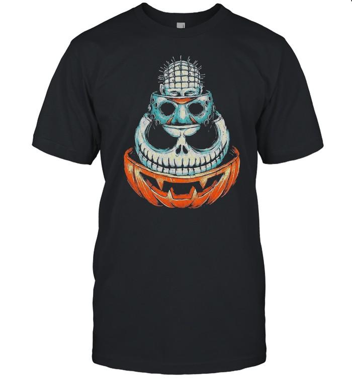Pinhead Jason Voorhees Jack Skeleton and Pumpkin Halloween shirt Classic Men's T-shirt