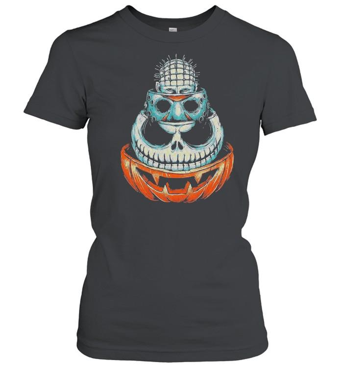 Pinhead Jason Voorhees Jack Skeleton and Pumpkin Halloween shirt Classic Women's T-shirt