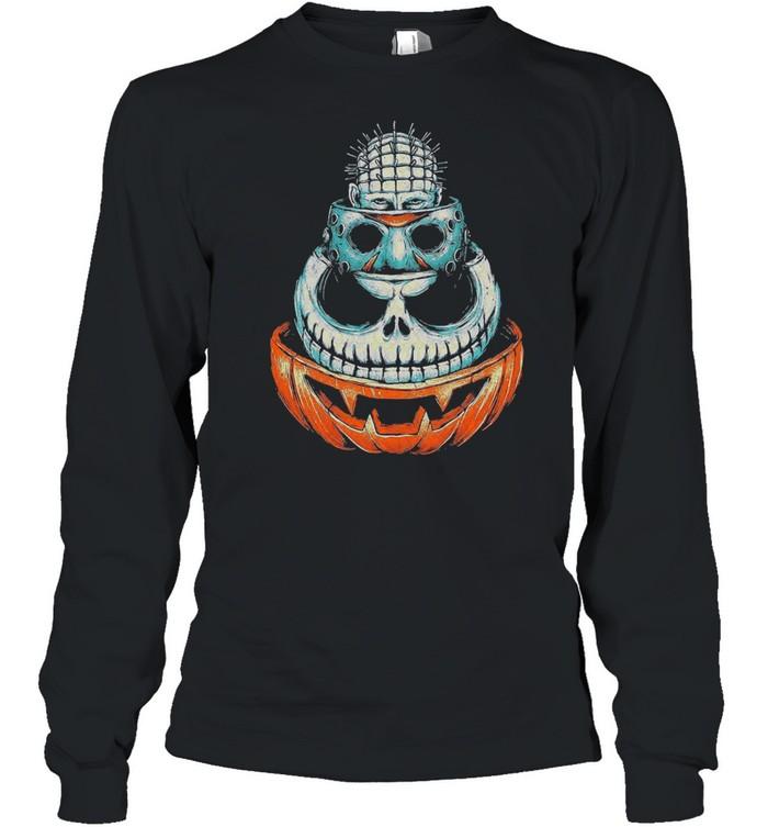 Pinhead Jason Voorhees Jack Skeleton and Pumpkin Halloween shirt Long Sleeved T-shirt