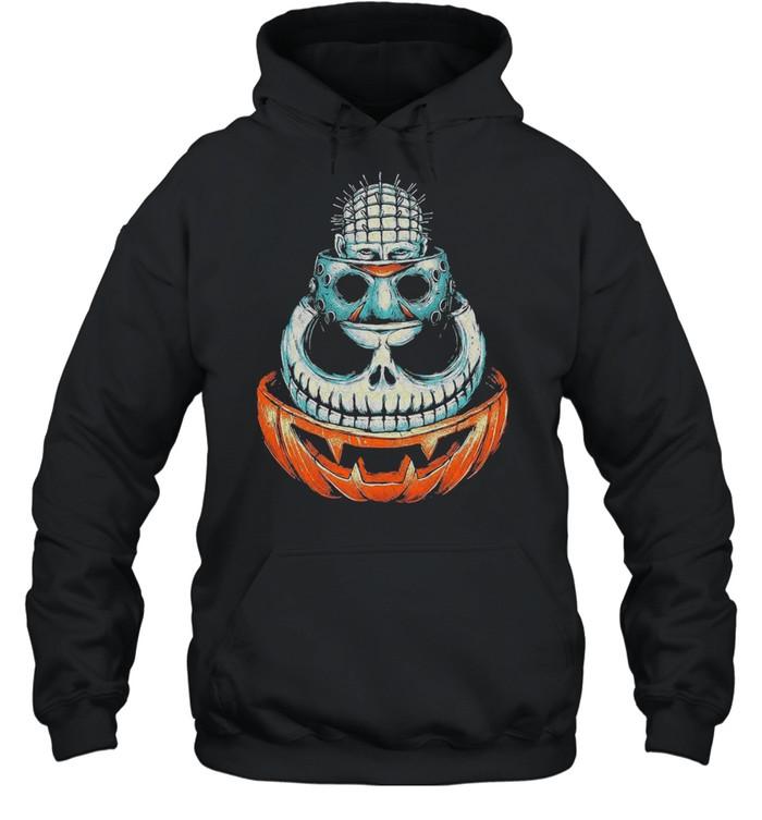 Pinhead Jason Voorhees Jack Skeleton and Pumpkin Halloween shirt Unisex Hoodie