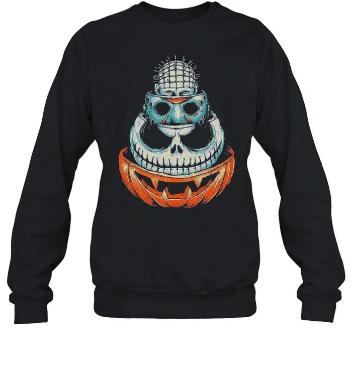 Pinhead Jason Voorhees Jack Skeleton and Pumpkin Halloween shirt Unisex Sweatshirt