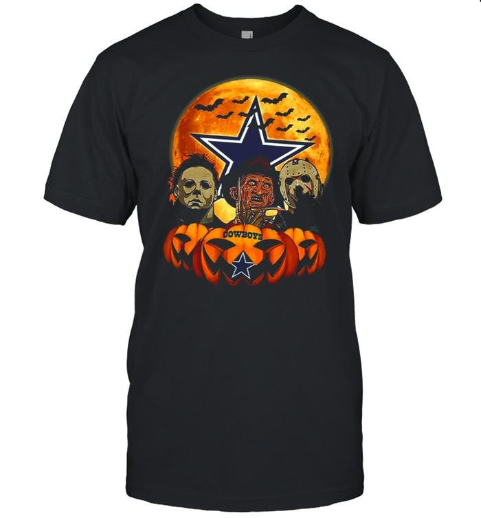 Dallas Cowboys Michael Myers and Freddy Krueger and Jason Voorhees Pumpkin Halloween shirt Classic Men's T-shirt