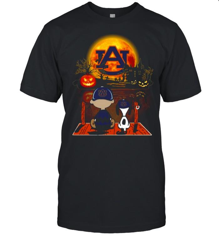 Snoopy and Charlie Brown Pumpkin Auburn Tigers Halloween Moon shirt Classic Men's T-shirt