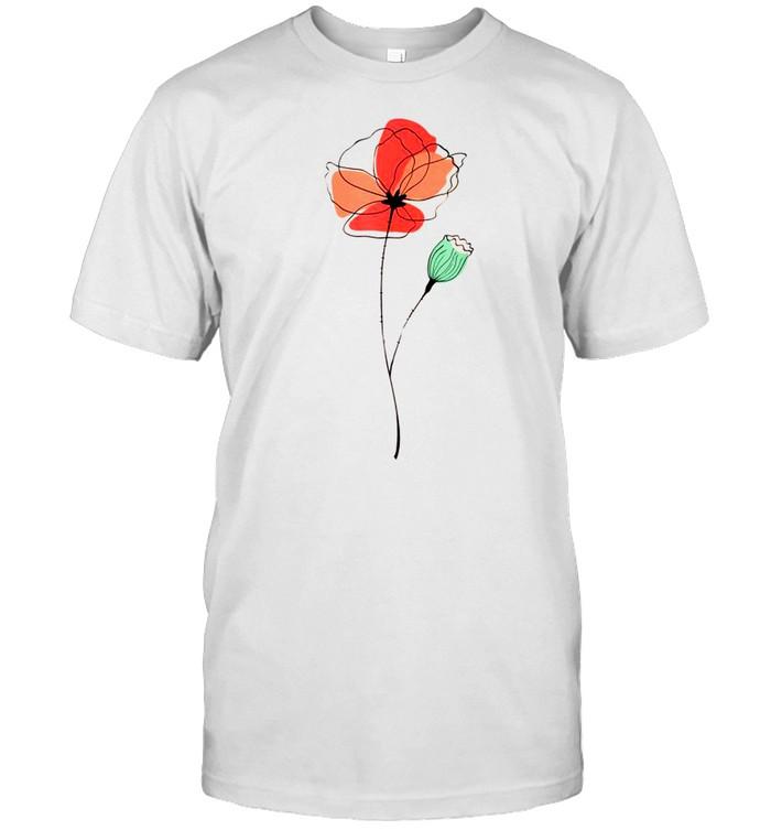 Red Poppy flower, Red Botanical Poppies, Poppy shirt Classic Men's T-shirt