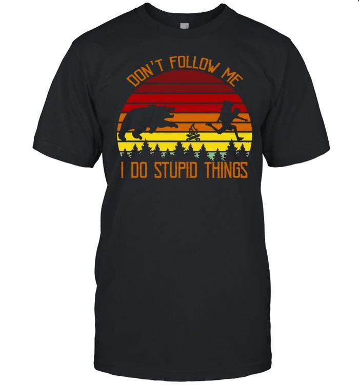 Rhino Don't Follow Me I Do Stupid Things Vintage Retro T-shirt Classic Men's T-shirt