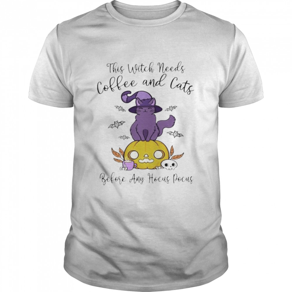 This witch needs coffee and cats before any Hocus Pocus shirt Classic Men's T-shirt