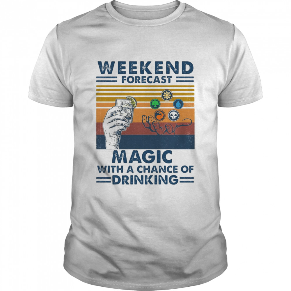 Weekend Forecast Magic With A Chance Of Drinking Wine Vintage T-shirt Classic Men's T-shirt