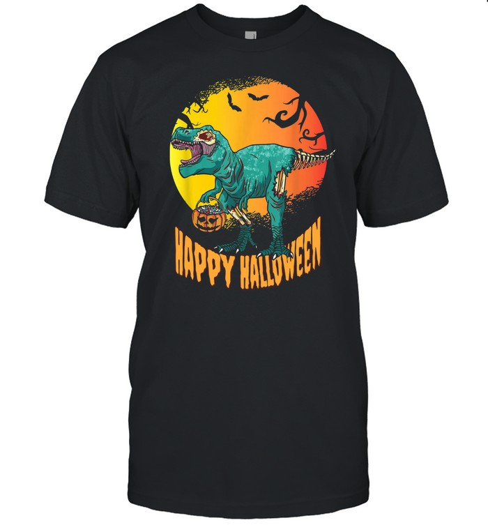 Happy Halloween Dinosaur T Rex Mummy Pumpkin  Classic Men's T-shirt