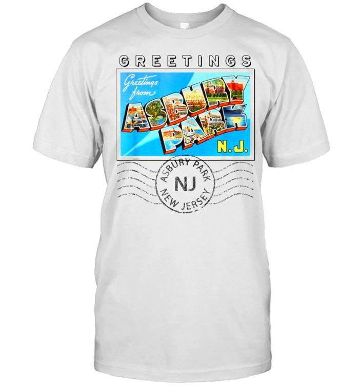 Asbury Park New Jersey NJ Postmarked Large Letter Postcard shirt Classic Men's T-shirt