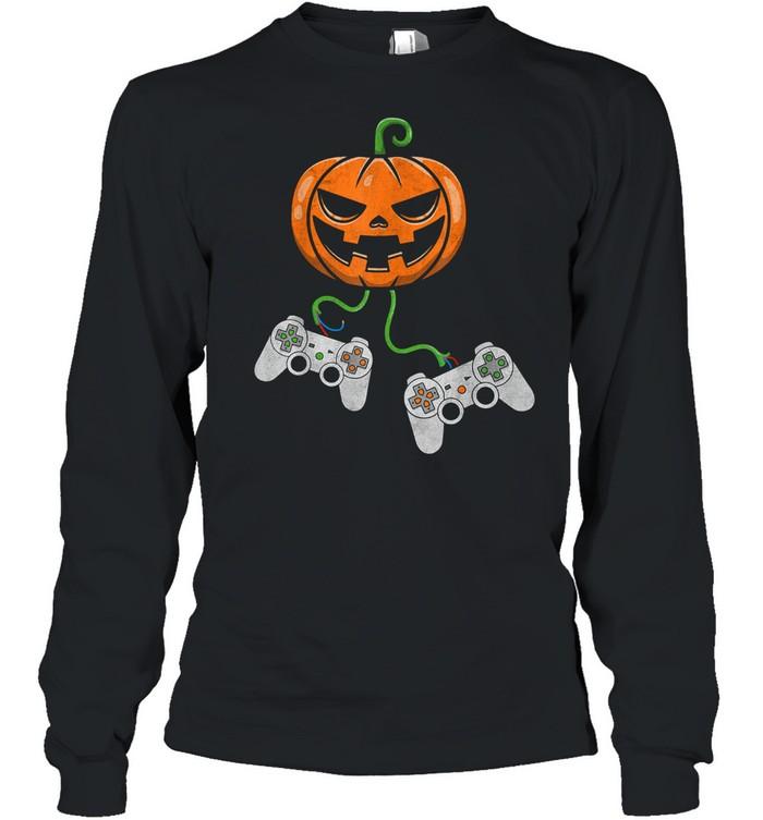 Halloween Video Game Controller Pumpkin shirt Long Sleeved T-shirt