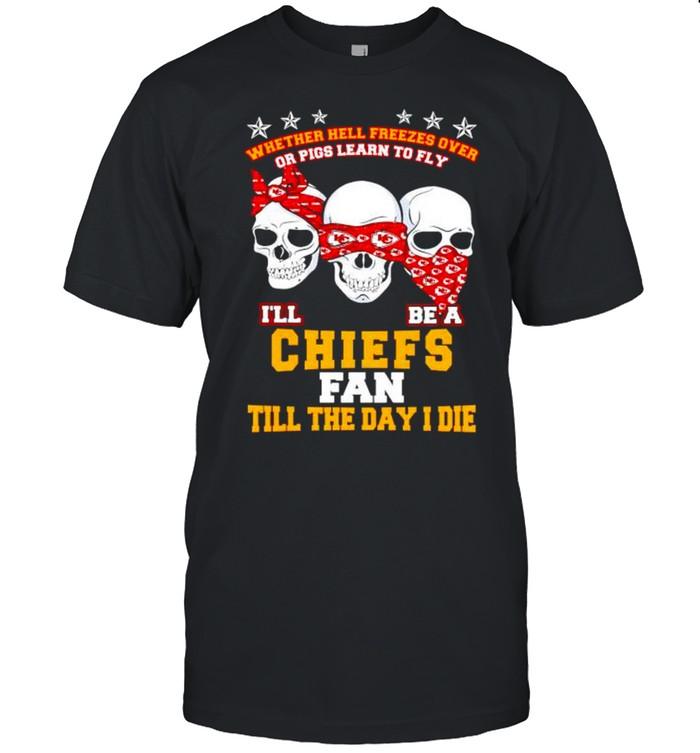 Skulls whether hell freezes over I'll be a Chiefs fan shirt Classic Men's T-shirt