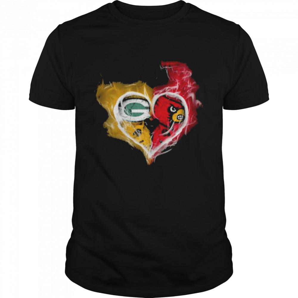 Heart Skull Green bay packers and Arizona Cardinals shirt Classic Men's T-shirt