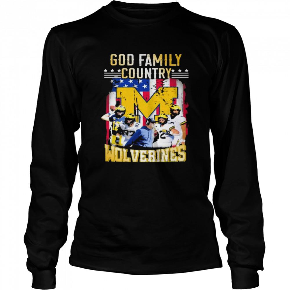 God family country Michigan Wolverines football shirt Long Sleeved T-shirt