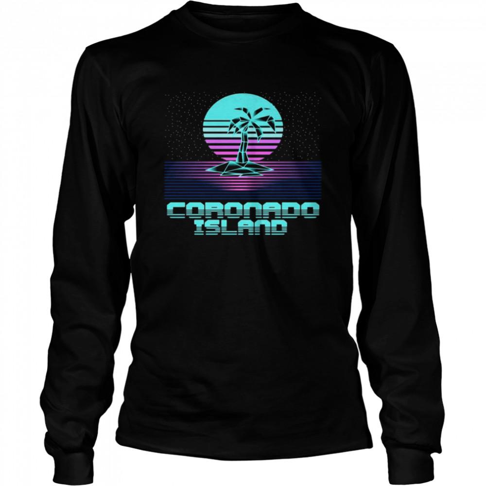 Coronado Island CA Retro Vintage 80er Palme Souvenir T-shirt Long Sleeved T-shirt