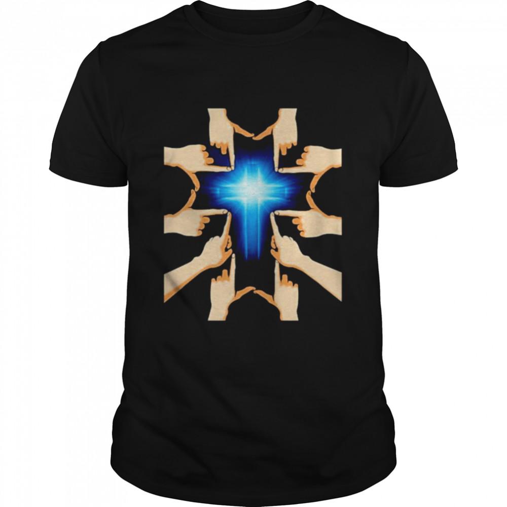 Hands forming a cross blue cross Jesus shirt Classic Men's T-shirt