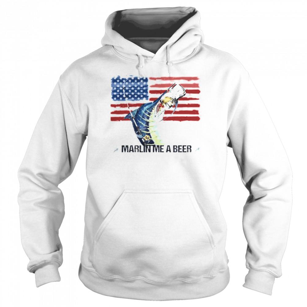 Marlin Me A Beer American Flag shirt Unisex Hoodie