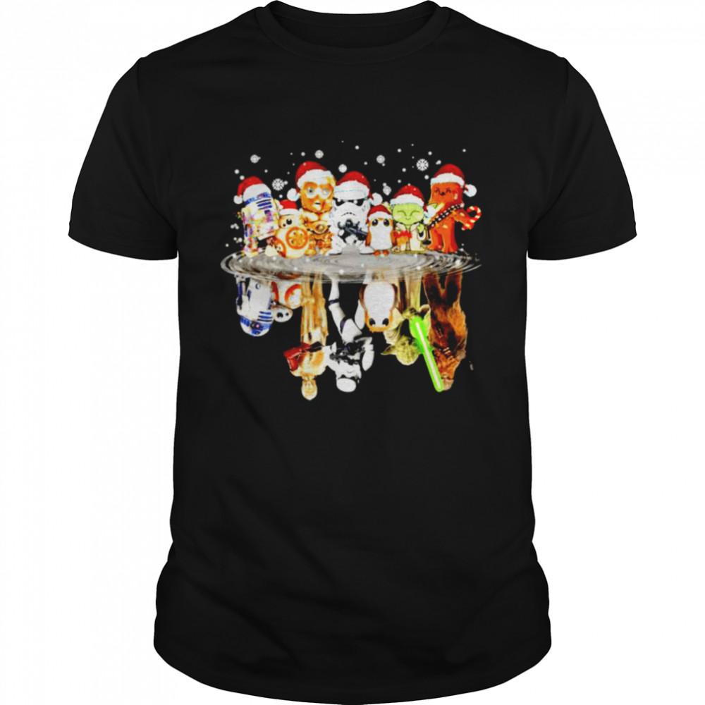 Star Wars characters chibi water reflection Christmas shirt Classic Men's T-shirt