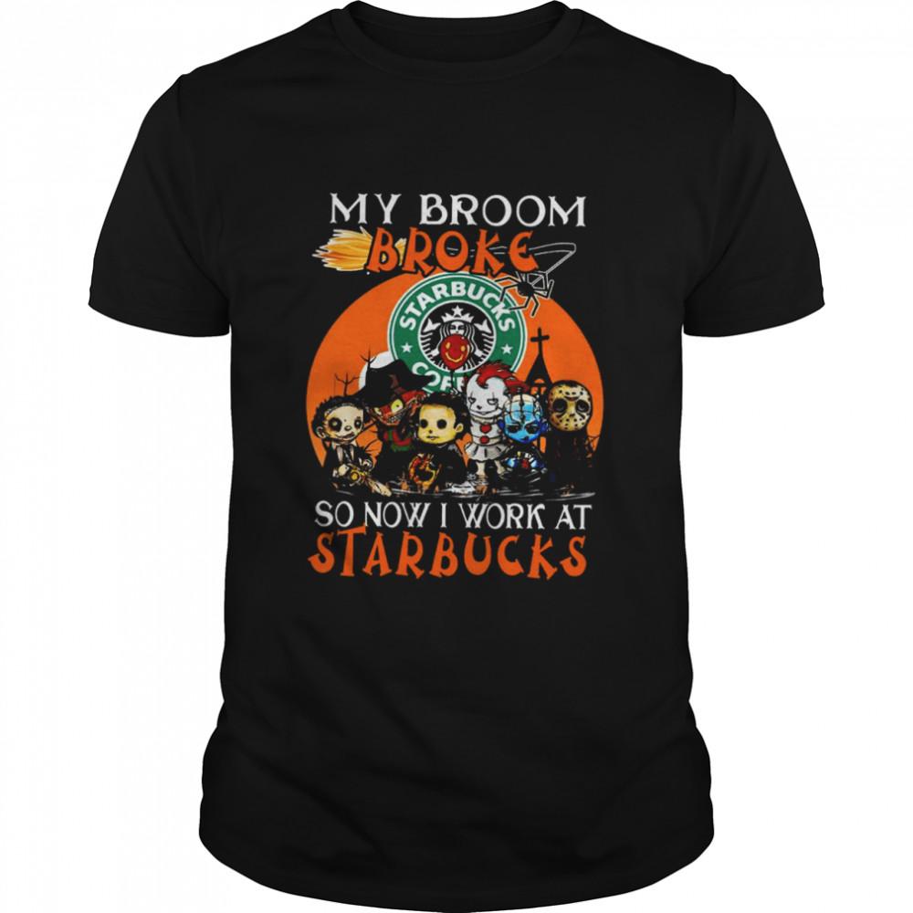 Chibi Horror characters my broom broke so now I work at Starbucks Halloween shirt