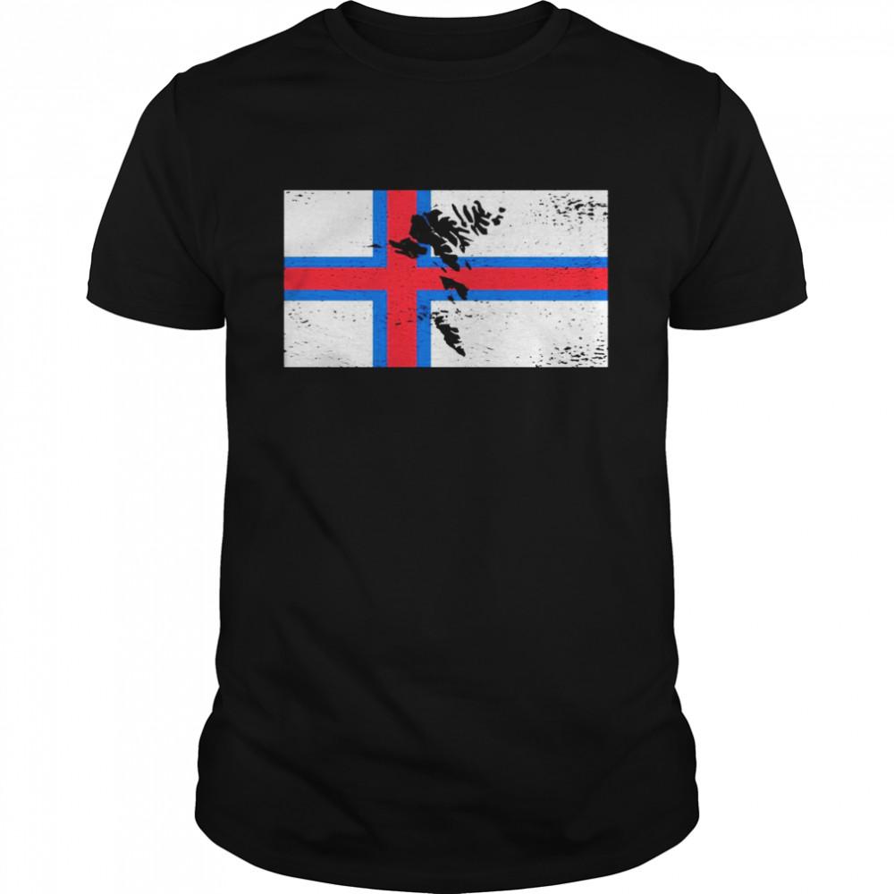 Faroe Islands Flag Silhouette Travel Nature Vacation Europe  Classic Men's T-shirt