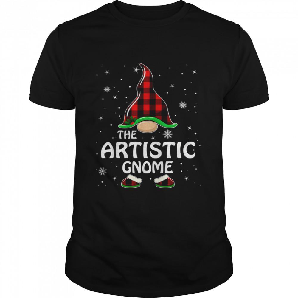 Artistic Gnome Buffalo Plaid Matching Family Christmas T- Classic Men's T-shirt