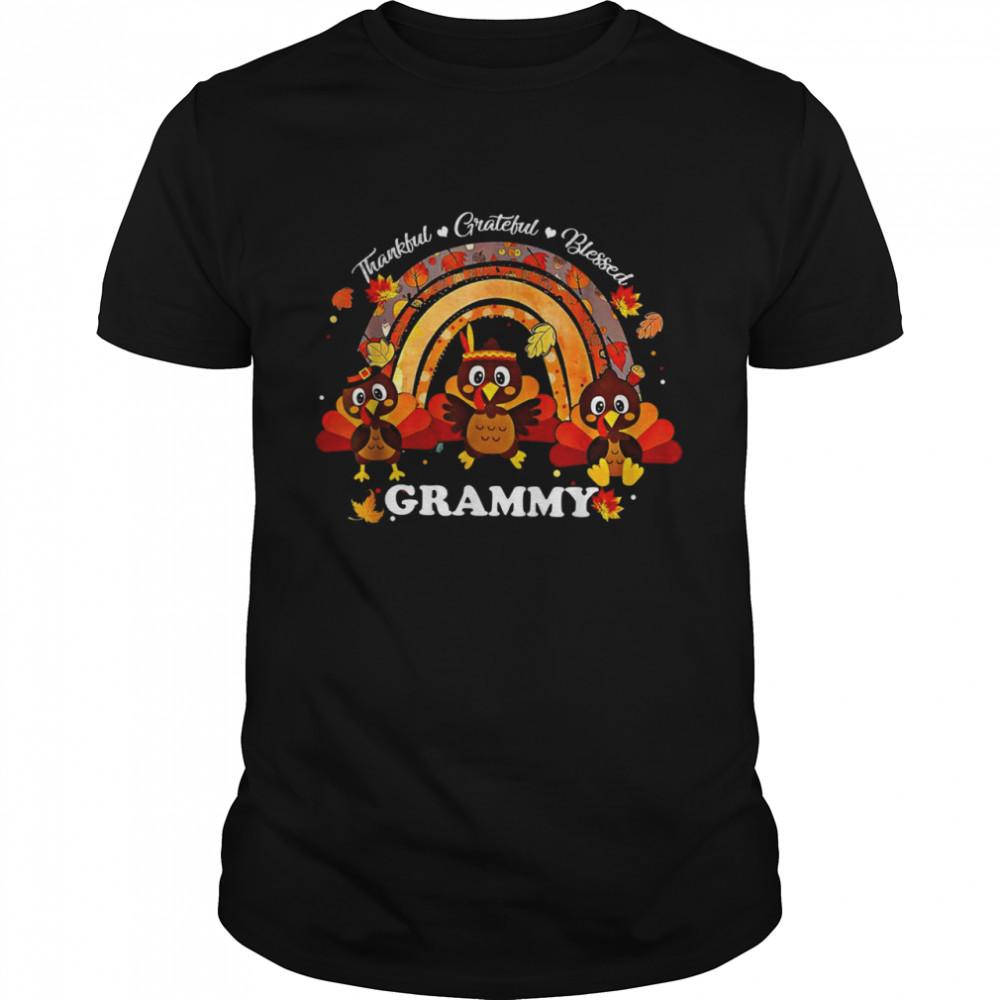 Grammy Turkey Rainbow Sunflower Thankful Grateful Blessed  Classic Men's T-shirt