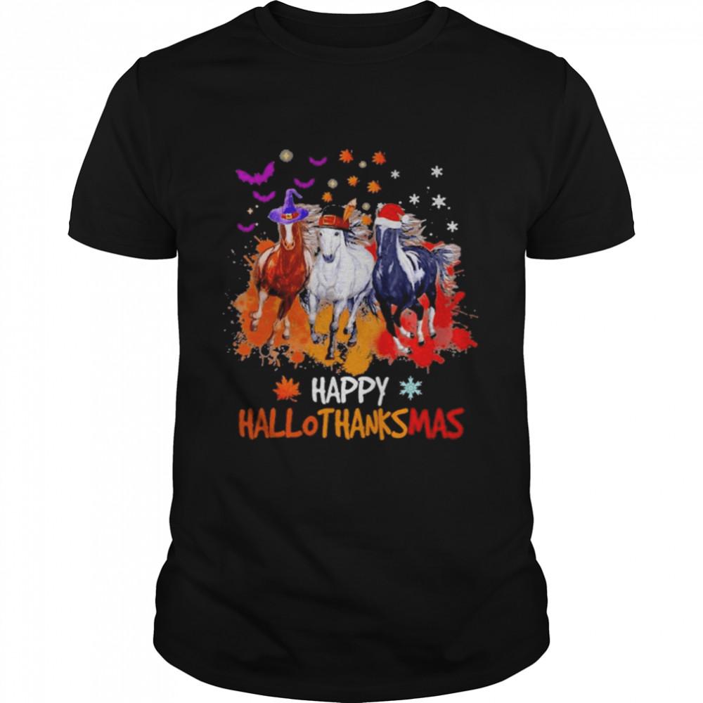 Horse Halloween Happy HalloThanksMas 2021 T- Classic Men's T-shirt
