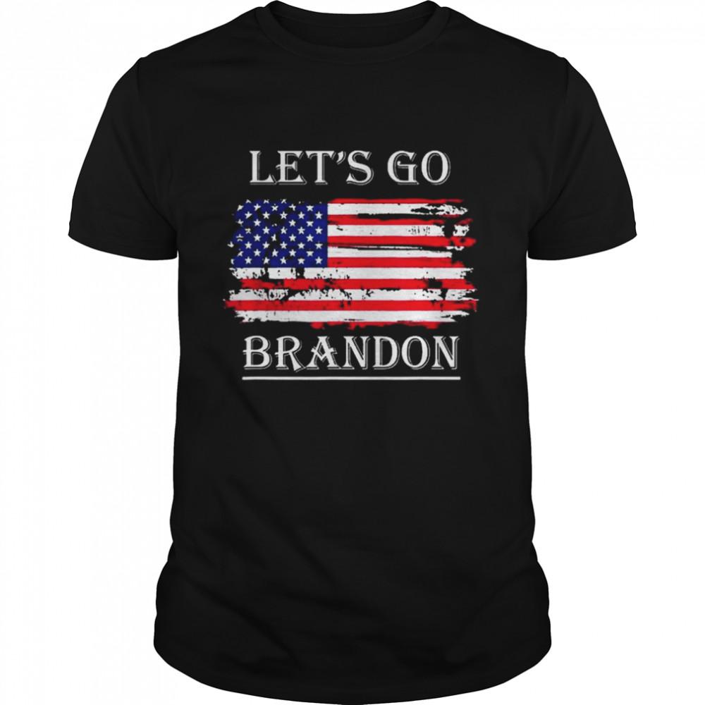 Let's Go Brandon Conservative Anti Liberal USA Flag JB Chant  Classic Men's T-shirt