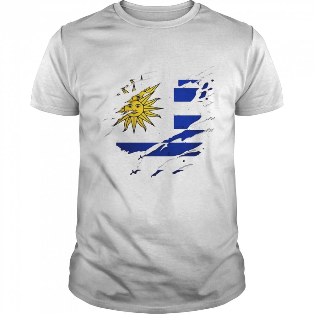 Proud Uruguayan Torn Ripped Uruguay Flag  Classic Men's T-shirt