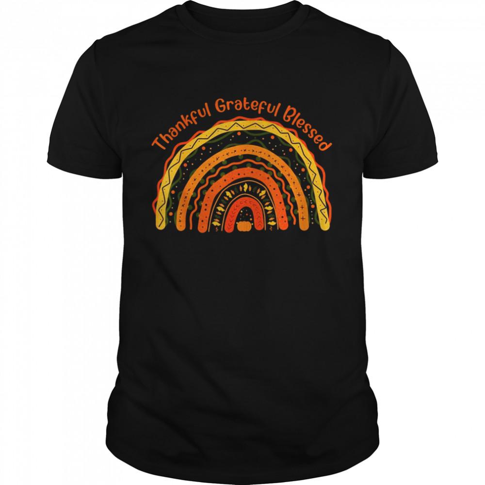 Thankful Grateful Blessed Pumpkin Rainbow Turkey Costume  Classic Men's T-shirt