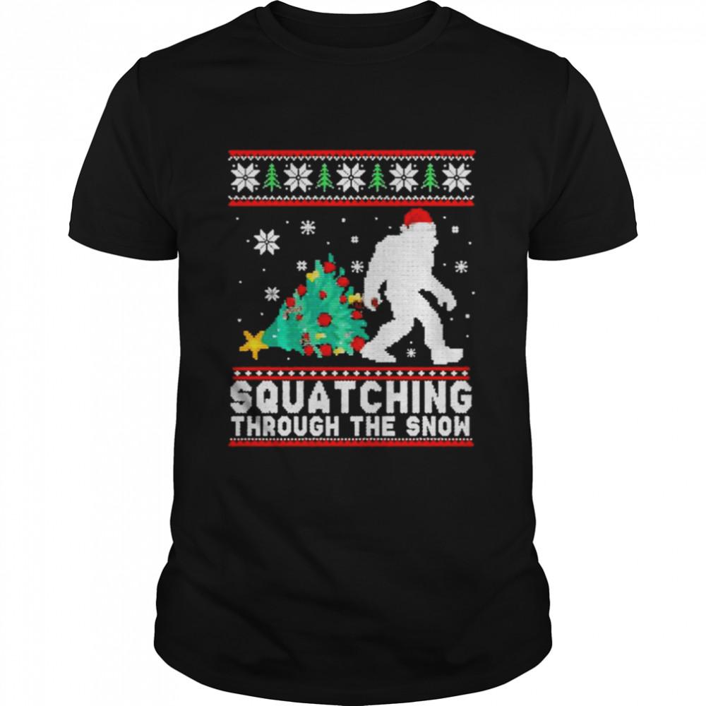 Bigfoot squatching through the snow ugly merry christmas shirt Classic Men's T-shirt