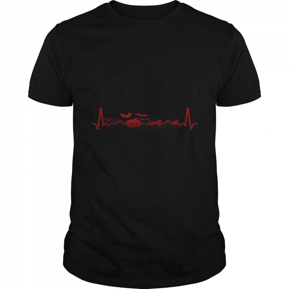 Halloween Heartbeat ECG Pumpkin Scary Fun Design for Party T- B09JT7KNKW Classic Men's T-shirt