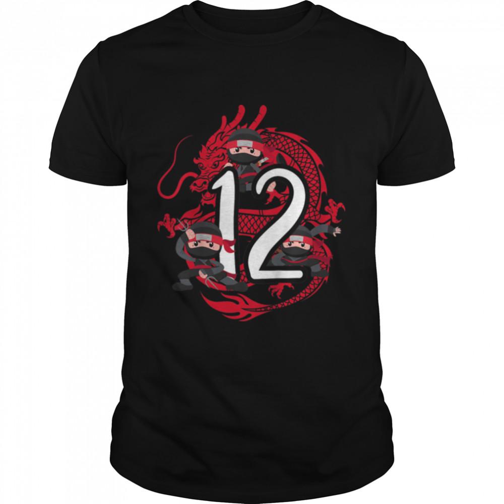 Kids 12th Birthday Boy 12 Years Ninja Dragon Costume T- B09JWP9S1N Classic Men's T-shirt