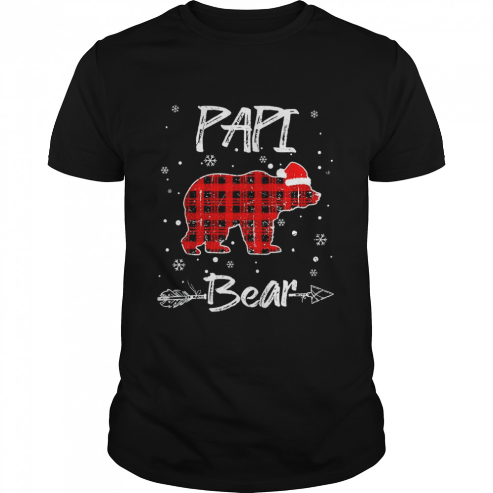 Red Plaid Papi Bear Buffalo Matching Family Pajama Christmas  Classic Men's T-shirt